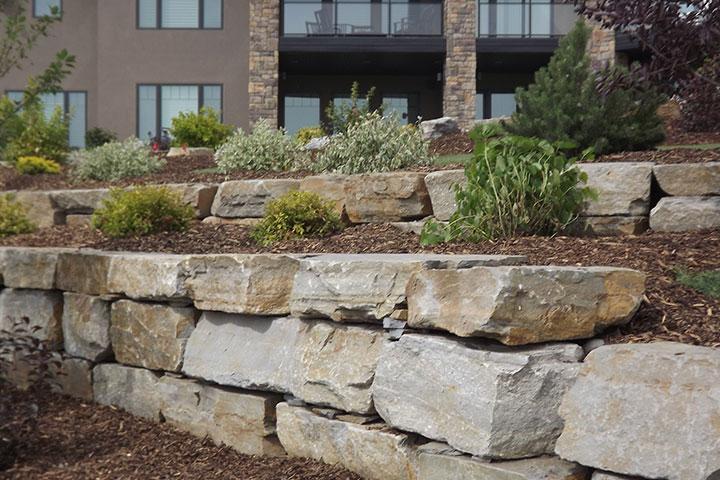 Granite Stone Walls : Chilcotin boulder wall stone bedrock natural